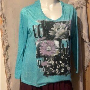 Knit long sleeve tee with hood